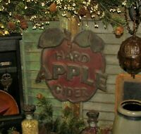 Primitive Antique Vtg Style Red Hard Apple Cider Orchard Tin Advertisement Sign