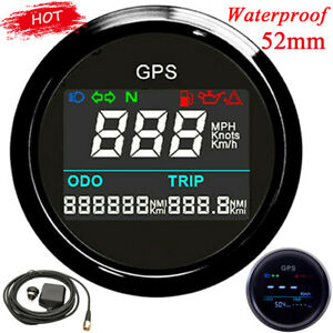52mm Car GPS Speedometer Odometer 0~999 MPH Knot Km/h Marine Digital Speed Gauge