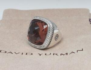 David Yurman Sterling Silver 20mm Albion Ring Morganite & Diamond size 8
