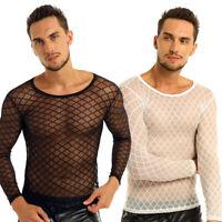 Mens See Through Mesh Long Sleeve Crop Top Muscle Fishnet Tee Shirt Undershirt