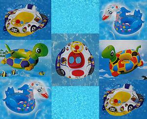 Kids Baby Toddler Swimming Pool Swim Seat Float Boat Ring With Wheel & Horn UK