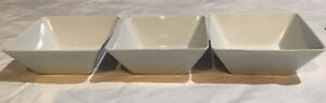 CRATE & BARREL - 3 COURT WHITE SQUARE BOWLS -EXCELLENT CONDITION!