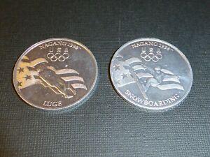 NAGANO 1998 USA OLYMPICS COMMEMORATIVE COIN / MEDALLION SNOWBOARD, LUGE