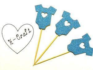 12 x blue glitter cupcake topper / it's a boy Baby shower / Babygrow