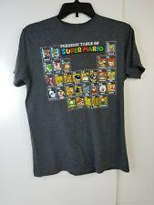 Nintendo Super Mario Men's T-Shirt Periodic Table of Super Mario Size Medium