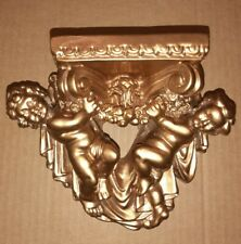 Vintage Ornate French Provincial Gold Nude Cherub Angel Wall Shelf Ledge Sconce