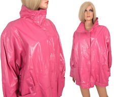 Vintage Kenn Sporn Wippette VINYL RAINCOAT Hot Pink SATIN SHINY WET LOOK Lined L