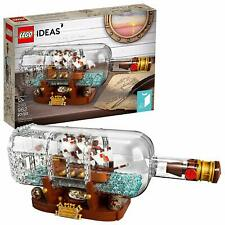 LEGO Ideas Ship Bottle 962Pc Expert Building Kit Captain Cannons Mast Sails Flag