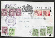 Spain covers 1938 cover frontside Dutch Consulate Valencia to Nes