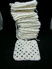 "Set (31) White Crocheted GRANNY SQUARES, 4.5"" Square"