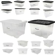 Quality Plastic Storage Boxes Clear Box With Lids Home Office Stackable UK Made