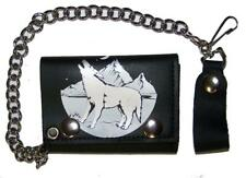 HOWLING WILD WOLF TRIFOLD BIKER WALLET W heavy CHAIN mens LEATHER #652 WOLVES