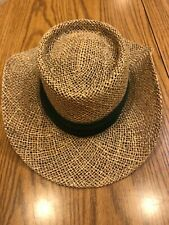 "NEW - Dockers Straw Hat - One Size Fits All - Dark Green Band - 3"" Brim"