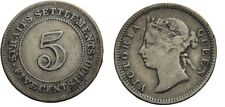 1900 Straits Settlements queen Victoria Silver 5 Cent