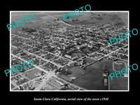 OLD POSTCARD SIZE PHOTO SANTA CLARA CALIFORNIA, AERIAL VIEW OF THE TOWN c1940