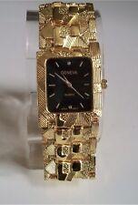 Men's Designer Inspired Geneva gold Finish Nugget style bracelet fashion watch