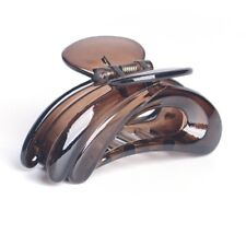 Women Lady Brown Plastic Hairpin Hair Claw Folding Jaw Clip Grips Clamp Headwear