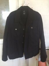 Denim Co Mens Black Denim Jacket With Fleece Lining Size XL