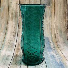 "Vintage E.O. BRODY Large Teal Green Press Glass Vase Diamond Pattern 8.5"" Tall"