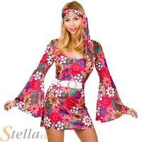 Ladies Retro Go Go Girl Costume 60s 70s Hippy Hippie Fancy Dress Adult Outfit