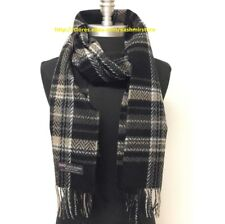 Men Women 100% CASHMERE SCARF Plaid Twill Black/Camel/Gray Scotland Wool Wrap