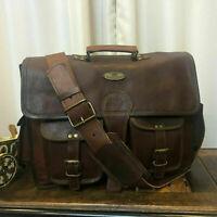 Bag Vintage wide Leather Messenger Satchel Genuine Laptop Shoulder Briefcase