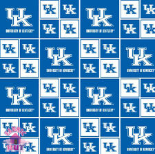 NCAA University of Kentucky Wildcats Cotton Fabric KY 020 By the Yard