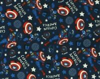 FAT QUARTER FABRIC  CAPTAIN AMERICA  MARVEL DOODLE  SUPERHERO  CAMELOT COTTON FQ