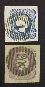 MOMEN: PORTUGAL SC #6,8 1855 USED $115 LOT #4031