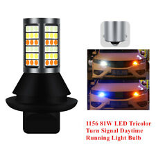 2X Universal 1156 81W LED Tricolor Turn Signal Daytime Running Light Bulb 81SMD