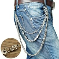 3 Layers Biker Wallet Chain Keychain Punk Trouser Long Key Holder Motorcycle !