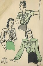 B3854 VTG 1950s 1940s Sewing Pattern 3 Blouses Smart Yoke Sleeve Variation B32""