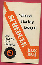 RARE 1973-74 NATIONAL HOCKEY LEAGUE 6 1/2 BY 4 BOOKLET SCHEDULE