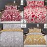WOODLAND WOODCUT Floral Rabbit Reversible Duvet Cover Set Bedding Set Ochre, Red