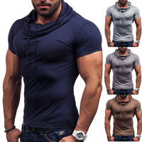 Mens V Neck Short Sleeve Shirts Slim Fit T-Shirt Casual Muscle Tee Fashion Tops
