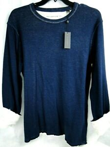 John Varvatos Reversible L/S Crewneck in Navy 98% Cotton MSRP $98 NWT COOL! - LG