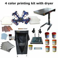 Updated 4 Color 2 Station Silk Screen Printing Kit Printer Amp Dryer Diy Material