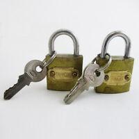 """2 Small Metal Padlocks Heavy Duty 1"""" Brass Box Locks Keyed Jewelry 2 Keys 25mm !"""
