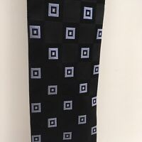 Donald Trump Signature Collection Black Light Blue Squares Pattern Mens Tie USED