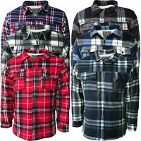 Mens Fur Sherpa Fleece Lined Thick Heavy Lumberjack Work Jacket Shirt Check Warm