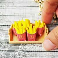 5x Mini Mcdonald French Fries Dollhouse Miniatures Food Barbie Supply Tray Set