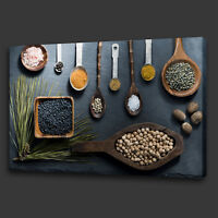 KITCHEN SPOONS SPICES HERBS MODERN BOX CANVAS PRINT WALL ART PICTURE PHOTO