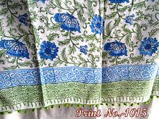 Blue flower Sexy Beach Wear Block Print Sarong Floral 100% Cotton whit pompom