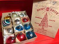 "SHINY BRITE Christmas Ornaments 1.75"" Balls Box 12 Antique Mercury Glass"