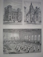YMCA Gym Long Acre London 1888 old print