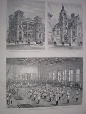 YMCA Gym Long Acre London 1888 old print