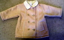 Baby Gap faux suede winter Pea Jacket Coat Sherpa Lined 12-15 Mo girls #156