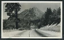 CA Mt Shasta RPPC 40's BLACK BUTTE fm HIGHWAY 99 Rainier Beer Billboard Eastman