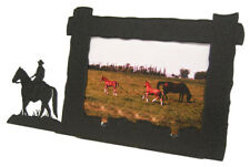 "Boy Man Horseback Riding Picture Frame 4""x6"" H Horse Cowboy"