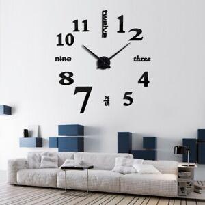 DIY 3D Frameless Number Wall Clock Mirror Sticker Home Office Room Decor